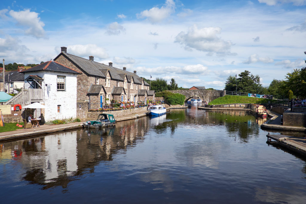 The canal through Brecon, Wales