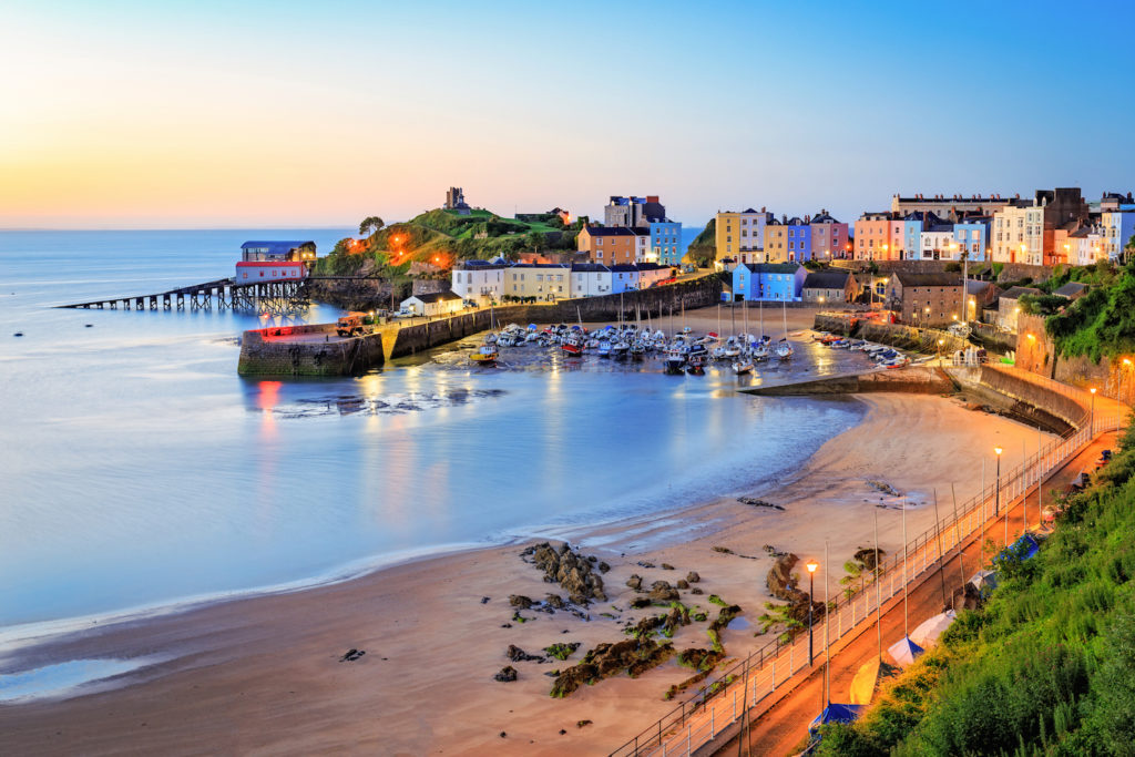 Colourful buildings along the seafront in Tenby, Wales