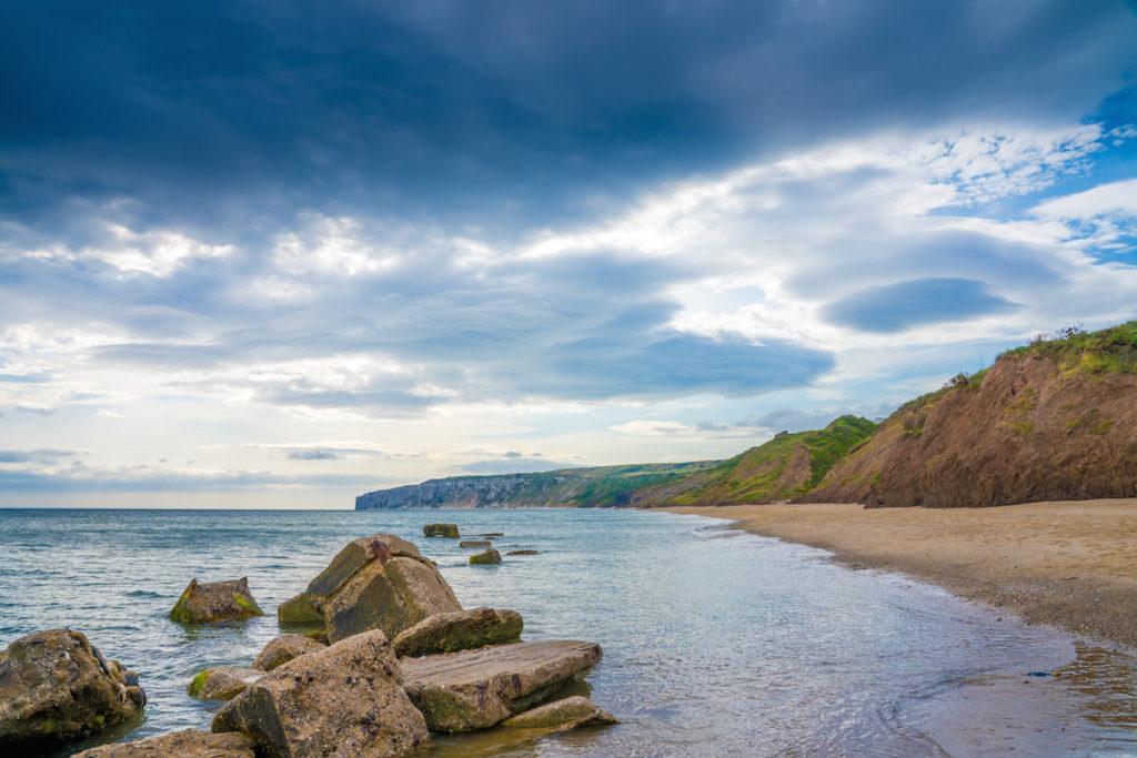 A beach and cliffs on the Yorkshire coast near Filey.