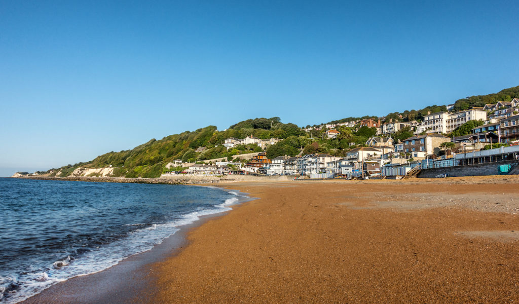 A view of Ventnor and the beach on the Isle of Wight