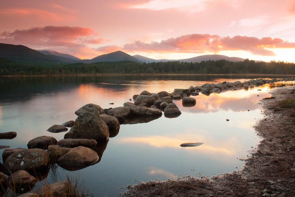 Sunset over Loch Morlich near Aviemore, Scotland