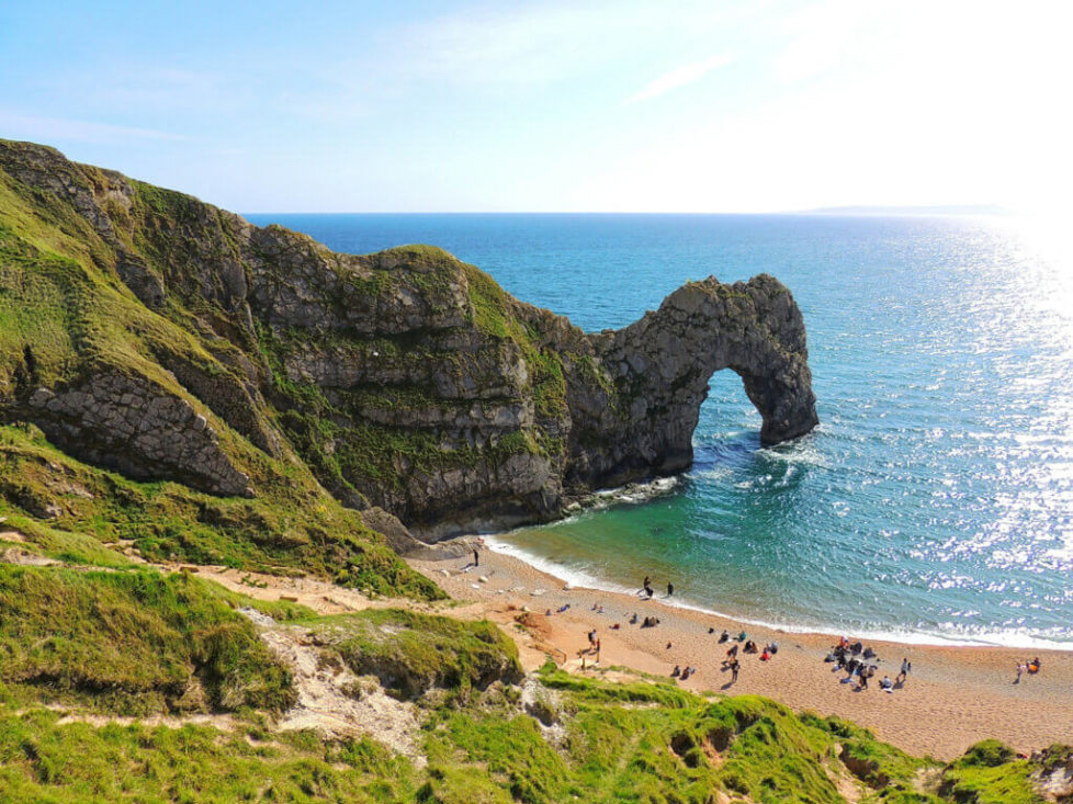 A view of the eroded arch, if you're planning the best places to stay one hour from Durdle Door