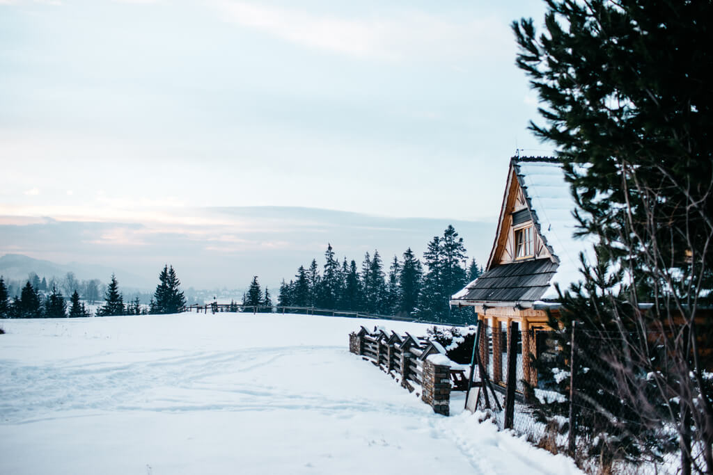 A stunning view of a Christmas cabin