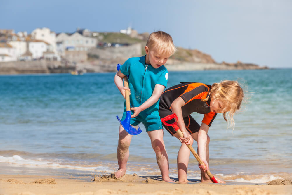 Enjoy a day at the beach, one of the best things to do in Cornwall with kids