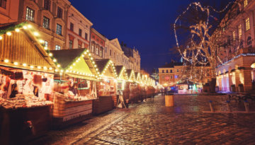 The twinkling market stalls, at one of the most whimsical Christmas markets in the UK
